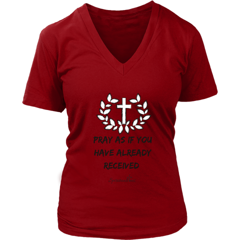 Pray As If Women's V-Neck [Black]