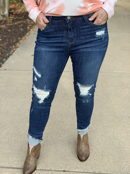 Cuffed Hem Destroyed Jeans - Pecan Hill Boutique