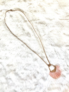 Pink Fan Necklace - Pecan Hill Boutique