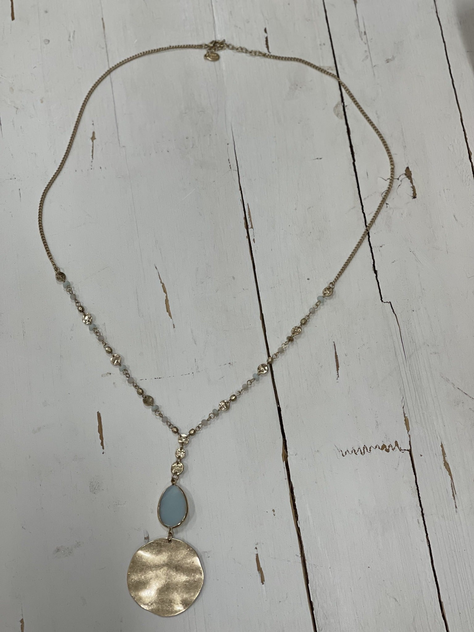 Gold Necklace with Blue and Gold Beads - Pecan Hill Boutique