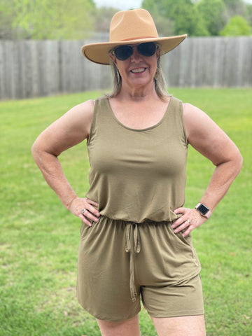 Khaki Romper - Pecan Hill Boutique