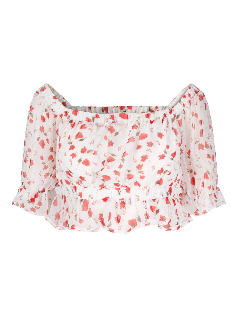 Carlotta Top Red Flower