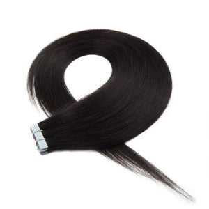 20pcs 50g Straight Tape In Hair Extensions #1B Natural Black - rongcp