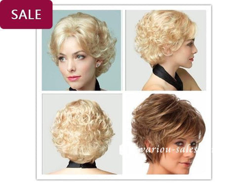 Blonde/Brown Short Curly Wig - rongcp