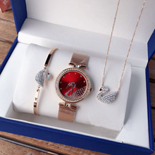 Ladies Swan Three-Piece Watch + Bracelet Necklace with Diamond British Watch Set - rongcp