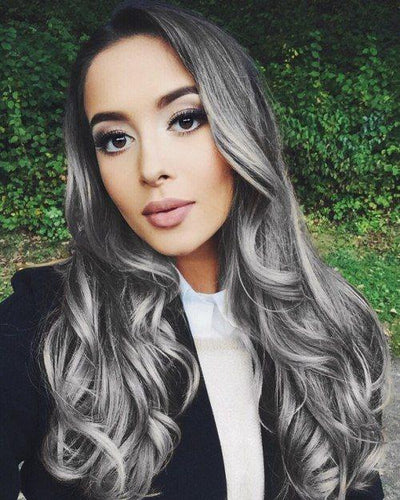 Ombre Grey Body Wave Wig - rongcp