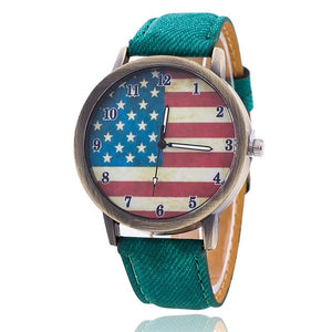 New Fashion Jeans Watch Women USA Flag Quartz Watches Unisex Casual Wrist Watch Relogio Feminino Christmas Gifts 1774 - rongcp