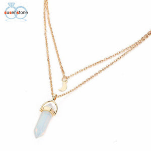 SUSENSTONE Women Multilayer Irregular Crystal Opals Pendant Necklace Choker Chain - rongcp
