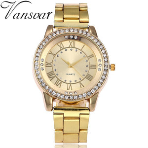 Vansvar Brand Gold Watch Luxury Women Dress Rhinestone Quartz Watch Casual Women Stainless Steel Wristwatches Female Clock - rongcp