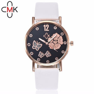 Hot CMK Women Butterfly Watches Casual Fashion Leather Strap Quartz Wristwatches Gift Clock Relogio Feminino - rongcp