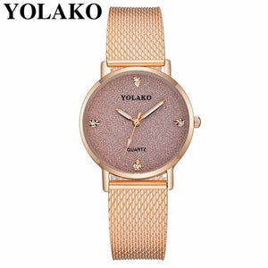Fashion Women Romantic Starry Sky Wrist Watch Casual YOLAKO Luxury Plastic Leather Women's Rhinestone Clock Relogio Feminino - rongcp