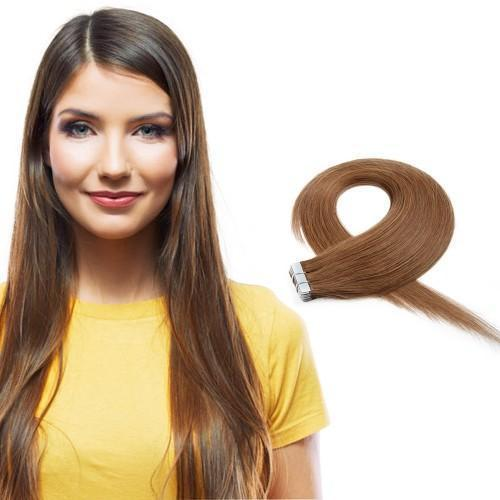 20pcs 50g Straight Tape In Hair Extensions #8 Light Brown - rongcp