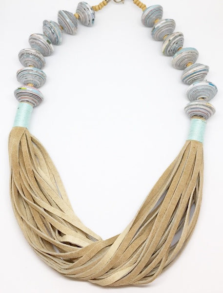 Anabelle - Necklace by Lumago (Tan & Blue)