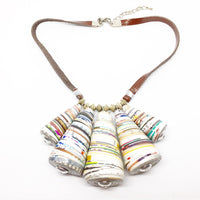 Tribe - Necklace by Lumago (Brown & White)