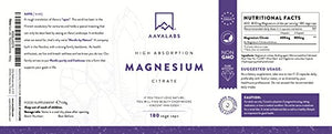 Magnesium Citrate Supplement [ 400 mg ] 180 Caps By Aava Labs – Pure & Non-Buffered - For Healthy Bones & Muscle Function – Nordic Quality - 100% Vegan and Non-GMO.