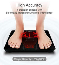 Load image into Gallery viewer, iTeknic Body Fat Scale, 11 Health Measurements Digital Bluetooth Bathroom Weight Monitor with Larger LED Display and Tempered Glass Surface, Smartphone APP, FDA Approved, 180kg/397lb