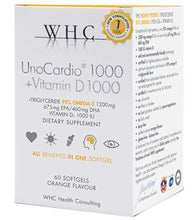 Load image into Gallery viewer, UnoCardio 1000 + Vitamin D 1000, 60 Softgels