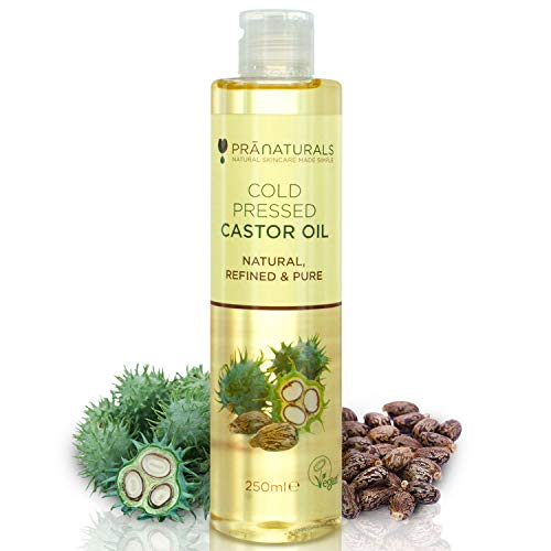 PraNaturals Cold Pressed Castor Oil 250ml - 100% Natural Vegan Pure, for Hair Growth and Eyelashes, Softer Skin and Face. Rich In OMEGA-6 & OMEGA-9