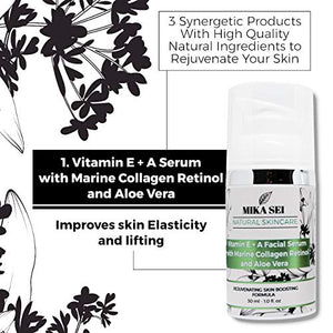 MIKA SEI Facial Rejuvenation Kit - Vitamin C Serum + Hyaluronic Acid Moisturizer + Vitamin E+A Serum