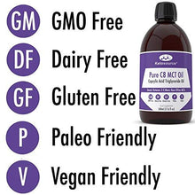 Load image into Gallery viewer, Premium C8 MCT Oil | Boosts Ketones 3X More Than Other MCTs | Highest Purity C8 MCT Available 99.8% | Paleo & Vegan Friendly | Gluten Free | BPA-Free Plastic Bottle | Pure Caprylic Acid | Ketosource®