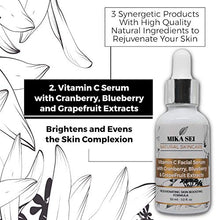 Load image into Gallery viewer, MIKA SEI Facial Rejuvenation Kit - Vitamin C Serum + Hyaluronic Acid Moisturizer + Vitamin E+A Serum