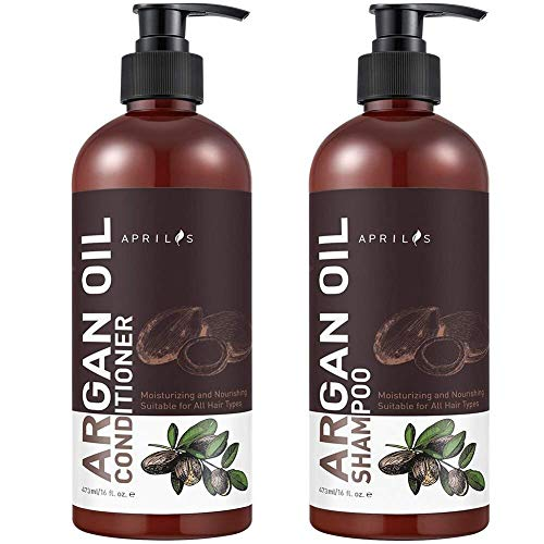 Shampoo Conditioner Sets, Aprilis Moroccan Argan Oil Hair Growth Shampoo Conditioner, Vitamin Enriched & Volumizing Treatment for Hair Loss, Damage, Thinning, Regrowth for Men & Women, 2 x 17 fl. oz.