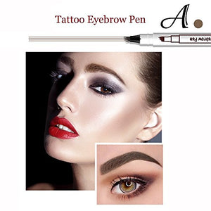 Tattoo Eyebrow Pen with 3 Colors Long-lasting Waterproof Brow Gel and Tint Dye Cream for Eyes Makeup (2#Brown)