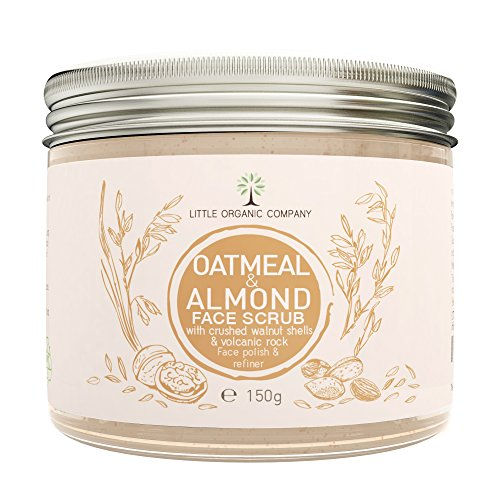 Oatmeal & Almond Face Scrub with crushed Walnut Shells - Organic, 100% Natural, Vegan, Eco Friendly