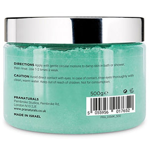 PraNaturals Revitalising Dead Sea Body Scrub 500g, 100% Organic Nourishing Skin Exfoliating Salt Scrub