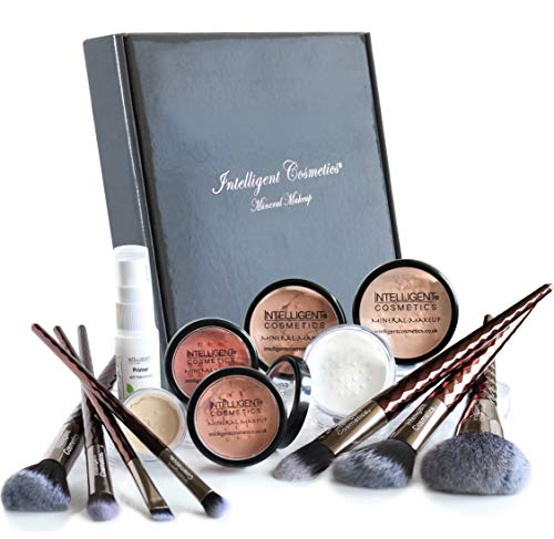 MEDIUM SKIN Mineral Makeup Kit Foundation 14 Piece COMPLETE SET Pure Natural Minerals With Organic Silk Primer, Full Cover by Intelligent Cosmetics®