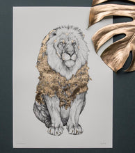 "Golden lion print ""Alexander"" by artist Emma Morgan"