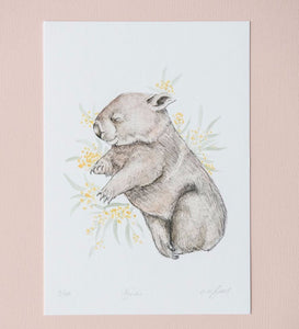 "Cute wombat artwork ""Bindi"" by artist Emma Morgan"