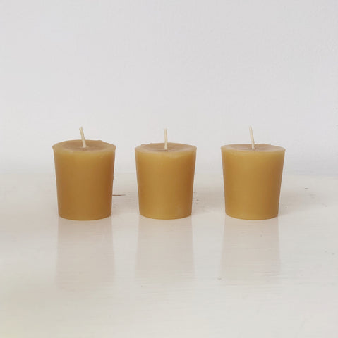 Natural Beeswax Votive Candles (Pack of 3)
