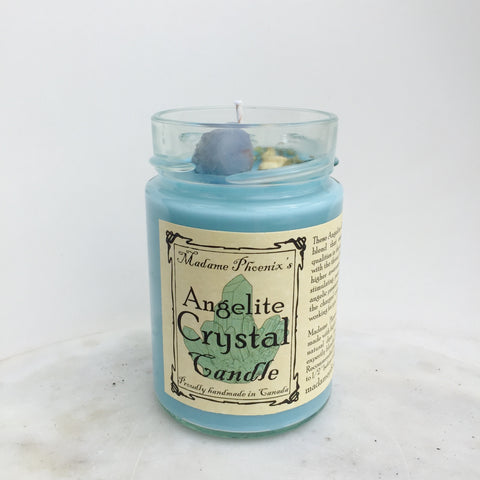 Angelite Crystal Candle Madame Phoenix Wonderworks