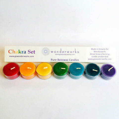 Beeswax Chakra Tealight Candles Wonderworks