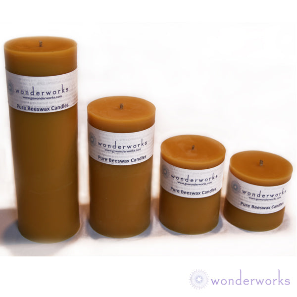 "Pillar Candle 9"" Natural Beeswax"
