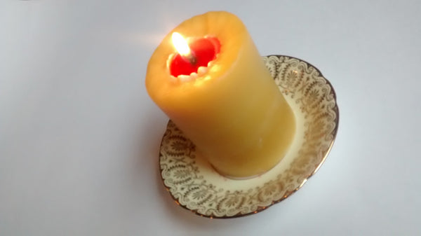Beeswax Pillar Red and Natural Beeswax BeeGlo Candles Wonderworks