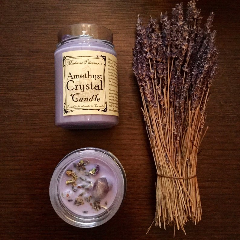 Amethyst Crystal Spell Candle