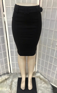 Dressy pencil skirt with belt detail