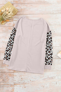 V-Neck Leopard Sleeve Blouse
