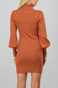 Turtle-neck puff sleeve dress