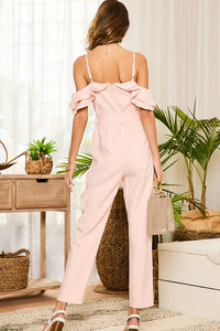 Blush Ruffle Sleeve Jumpsuit