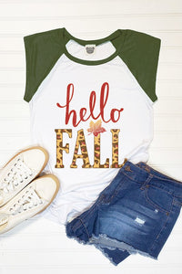 Short Sleeve Hello Fall Graphic Tee