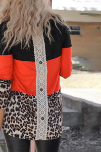 Orange leopard color block long sleeve