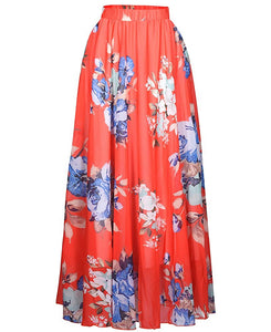 Floral Chiffon Maxi Skirt - Sophisticated