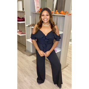 Ruffle- off the shoulder jumpsuit.