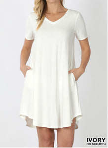 Short Sleeve Swing Dress - Sophisticated