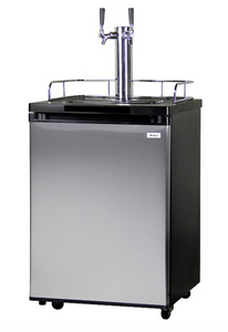DOUBLE TAP HOME BREW KEGERATOR - BLACK CABINET WITH STAINLESS STEEL DOOR - Kegerator Solutions