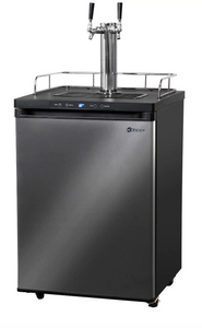 DUAL-FAUCET HOME-BREW KEGERATOR - BLACK CABINET WITH BLACK STAINLESS STEEL DOOR - Kegerator Solutions