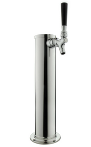 "14"" TALL POLISHED STAINLESS STEEL 1-FAUCET DRAFT BEER TOWER WITH STANDARD FAUCETS - Kegerator Solutions"
